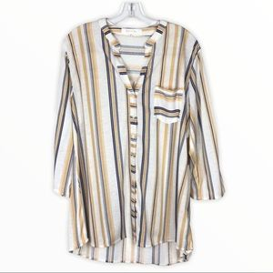 Eden & Olivia | Tan Blue Striped Button Front Top